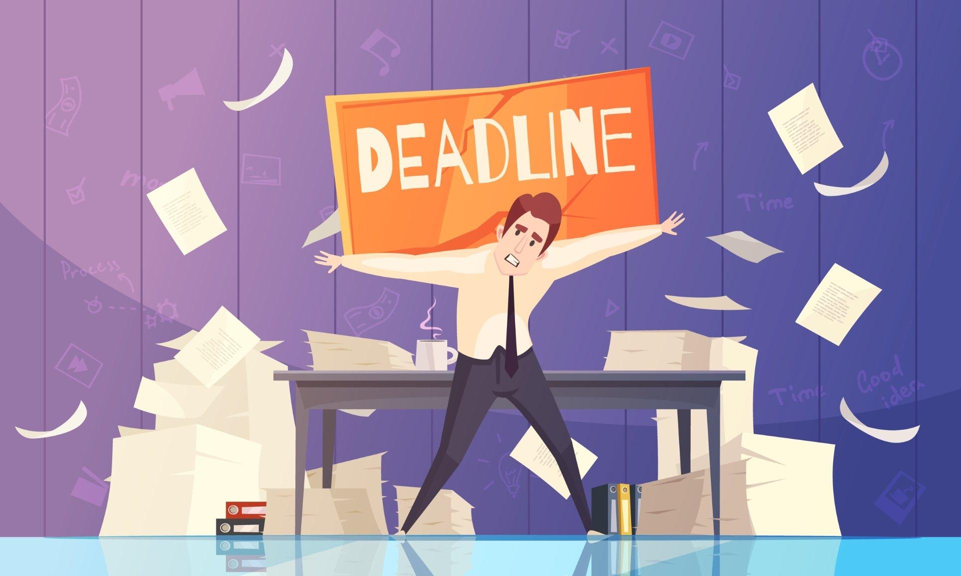 Businessman overwhelmed by deadlines